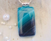 Fused Glass Pendant, Glass Jewelry, Necklace, Necklace Included, Green, Teal, A2