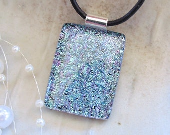 Aqua Necklace, Silver, Pink, Dichroic Glass Pendant, Necklace, Light Blue, Necklace Included, A4
