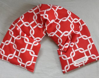 Herbal Wrap - New Size - Versatile hot or cold therapy for neck, shoulders, low back, abdomen, legs and arms -Red Knot