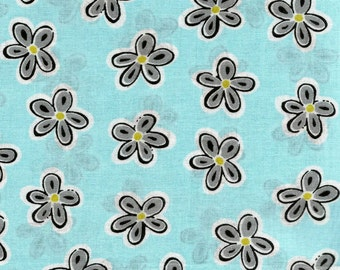 Light Blue Daisy Fabric, 100% Cotton. Sold by the Yard