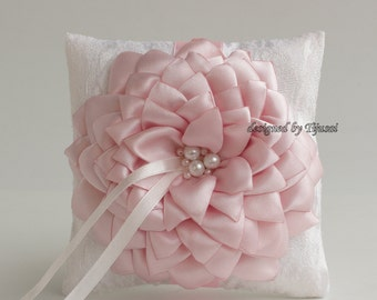 Reserved-Wedding ring bearer pillow with pink satin flower ---wedding ring pillow , wedding pillow, rings cushion, ready to shipp