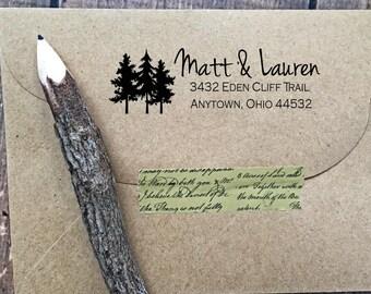 Woodland Return Address Stamp,Forest Stamp,Tree Stamp,Papergoods,Script,Wedding Stamp,Pre inked Stamp,Custom Stamp,Personalized Stamp,#16-29