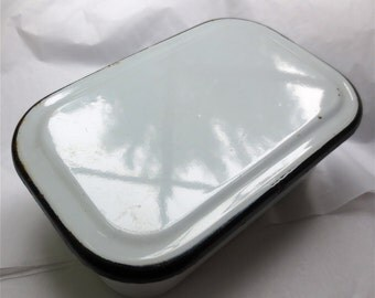 Enamel Covered Dish - 1950s Instrument Sterilizing Bowl - Enamelware Covered Pot