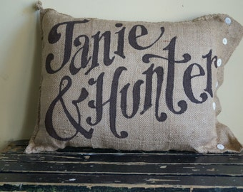 Wedding Name and Date pillow - anniversary - Quincy Burlap Pillow - Custom Name