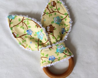 Yellow Snips & Snails Owls Rabbit Ears Wooden Teething Ring