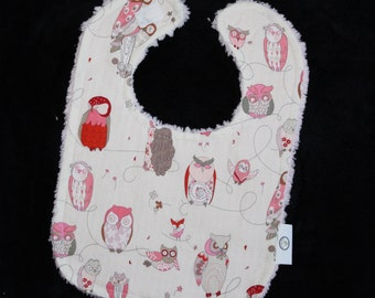 Cool Cream and Pink Owls and Chenille Bib