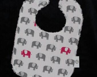 Gray and Pink Elephants Chenille Bib