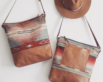 Tribal Print Hobo. Brown Leather Bag. Southwestern Bag. Cross Body Strap Bag. Adjustable Strap.