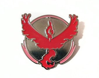 Team Valor Pokemon GO! Silver and Red Metal Lapel Pin Back Badge
