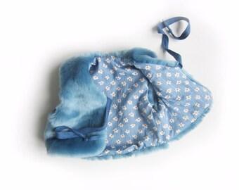 SALE!  Baby faux fur vest, blue gilet, blue vegan vest, childs winter eco fur jacket (blue) - 6m only