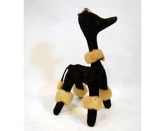 vintage toy sawdust stuffed plush animal poodle dog doggy black & tan velvet faux fur fake fur dream pets Dakin midcentury toy made in Japan