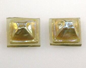 Miniature molded golden iris glass tiles