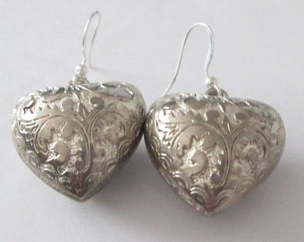 floral etched detailed puffy heart pierced dangle hand made affordable unique earrings