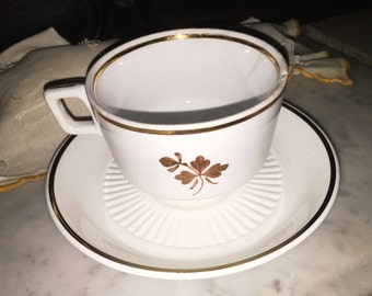 Antique  Tea Leaf Tea Cup and Saucer