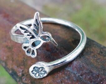 Hummingbird ring, Sterling Silver, flower, adjustable, Bird ring, Nature jewelry