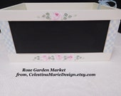 Chalk Board Shabby Storage Box, Hand Painted Cottage Roses, Blue Accents, Handled Sides, Storage, Home Decor, Organization, ECs
