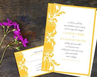 Damask Wedding Invitation Set, Simple Elegance Wedding Suite, Wedding Response cards, thank you notes, Wedding program, bold damask wedding