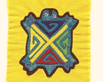 Adorable Turquoise Turtle Mola Mini  - Kuna Indian Reverse Applique