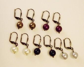 gray, white, black, blackberry or brown crystal pearls and gun metal one inch drop earrings