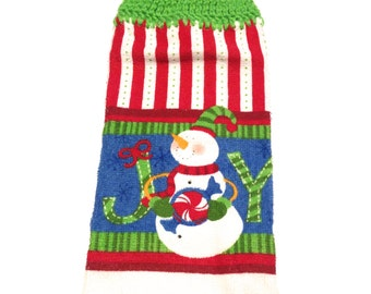 Joy Snowman Christmas Hand Towel With Spring Green Crocheted Top
