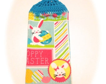 Hoppy Easter Hand Towel With Turqua Crocheted Top