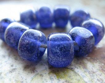 blueberry nuggets with handshaped facets  Handmade Glass Bead Set  Ellen Dooley  SRA (10)