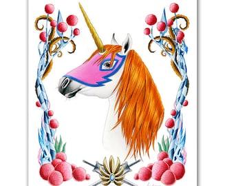 Swiftwind Print - She-Ra - Unicorn art - MOTU - Pop Culture Art - Animal Portrait - Limited Edtion Print by Ryan Berkley