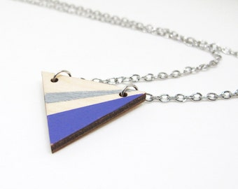 Geometric Painted Wood Triangle Necklace - Silver and Purple Angle