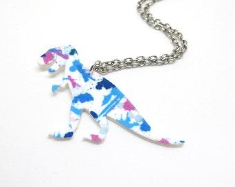 Paint Splatter T Rex Necklace