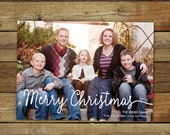 Simple classy Christmas card, Merry Christmas in handwriting script, holiday card with photo, custom personalized card