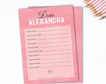 Printable baby shower game, pink dear baby baby wishes baby shower game, editable pdf, instant download,