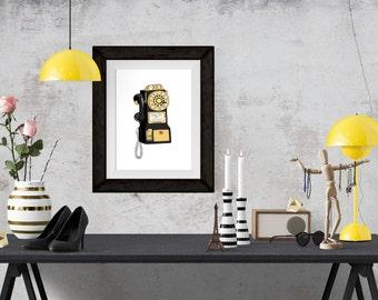 Vintage Telephone Gold Decorative Illustration Art Poster