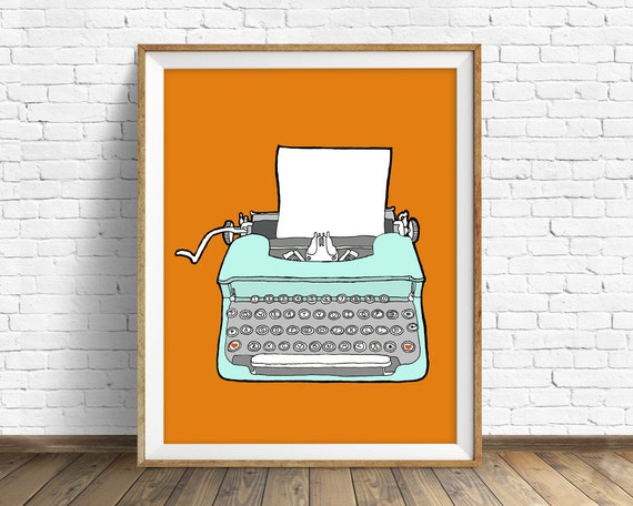 "drawing, vintage typewriter, wall art, art print, orange, large wall art, large art, mid century modern, print - ""Vintage Typewriter No. 4"""
