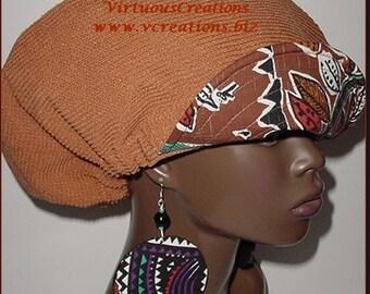 Billed-Bibbed Hat Earring Set-Dreadlocks-Natural Hair-Rust-Burnt Orange with African Print
