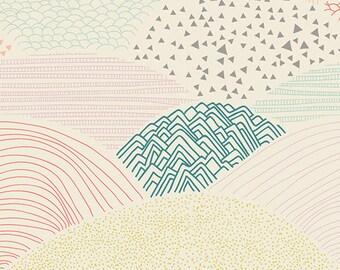 Summit Dawn - Hello Bear - Art Gallery Fabrics - Woodland Quilting Fabric - Bonnie Christine - HBR-4439 - Hills Mountains Rainbow