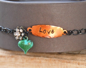 Stamped word love charm bracelet/ inspirational/valentines day/crystal/heart/love bracelet. Tiedupmemories