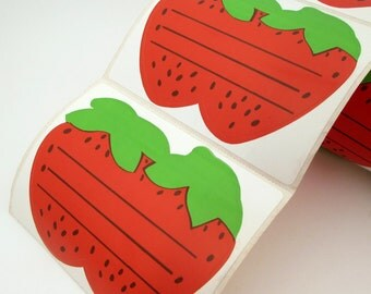 10 Vintage Strawberry Stickers - Canning Labels - Name Tags - Classroom stickers - Strawberry Jam