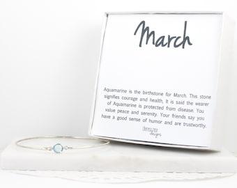 March Birthstone Aquamarine Sterling Silver Bangle Bracelet, Sterling Silver Bracelet, Aquamarine Bangle Bracelet, March Birthday Gift