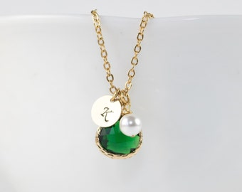 Personalized May Birthstone Gold Necklace, Personalized Emerald Necklace, May Birthday Jewelry, Personalized Gold Necklace [#877]