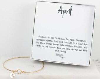 Personalized April Birthstone Gold Bangle Bracelet, Personalized Crystal Gold Bracelet, Crystal Bangle, April Birthstone Bracelet