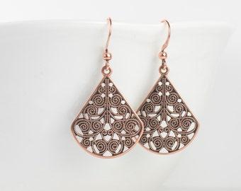 Copper Filigree Teardrop Earrings, Copper Earrings, Copper Drop Earrings, Copper Chandelier Earrings, Gifts Under 15
