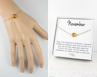 November Birthstone Gold Bracelet,  Topaz Bangle Bracelet, November Birthday Topaz Bracelet, Gold Bracelet, November Birthstone Bracelet