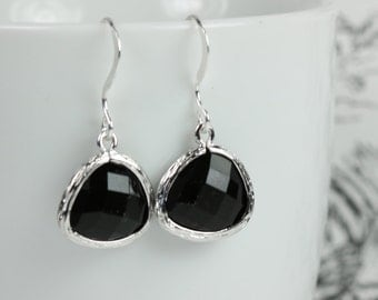 Black Silver Earrings, Black Drop Earrings, Silver Earrings, Bridesmaid Jewelry, Black Wedding Accessories, Black Bridal Gifts #794