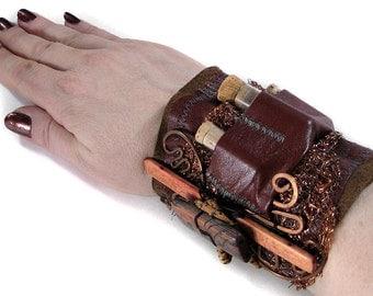 Steampunk Textile Wrist Cuff APOTHECARY LEATHeR Cuff Cork Vials COPPER Mesh Bamboo Copper Mesh Wire Coil Punk Cuff - Steampunk by edmdesigns