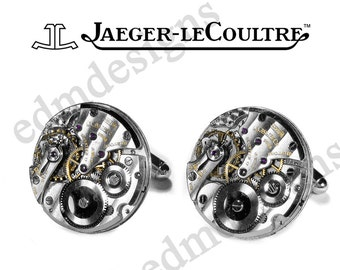 Mens JAEGER LeCOULTRE Mens RARE Watch Cufflinks LUXURY Pinstripe Wedding Anniversary Groom Gift Mens Holiday Gift - Jewelry by edmdesigns