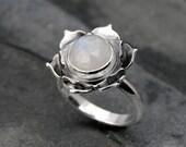 Moonstone Lotus Ring, Sterling Silver Statement Ring, Cocktail Ring, Faceted Rose Cut Gemstone, Luminous Lotus Flower, White Moonstone