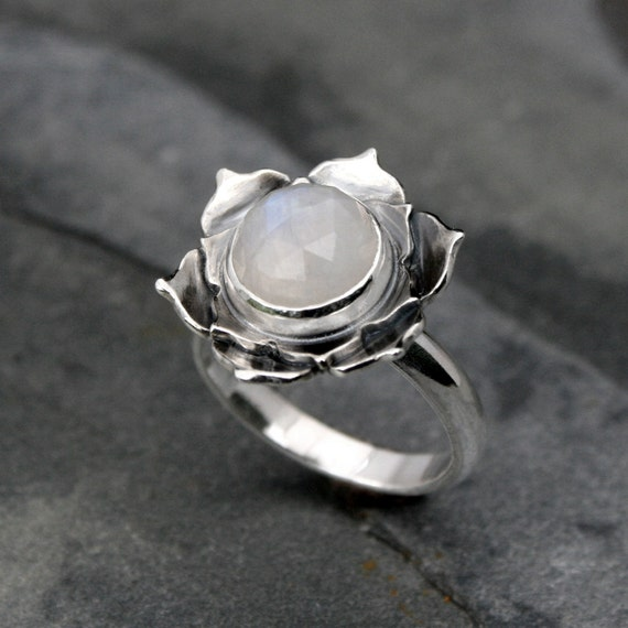Lotus flower sterling silver ring - Fine Silver Cocktail Ring
