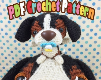 PDF Amigurumi / Crochet Pattern Sleepy Eye Dog – Dashy the Beagle and his baby CP-15-3267