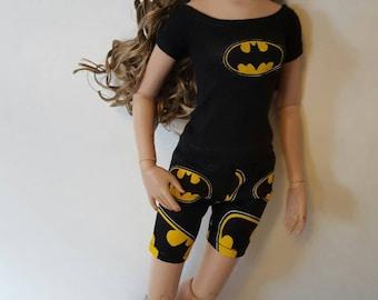 BATMAN PJs set for Ellowyne Wilde Volks Dollfie Slim Mini bjd Tonner