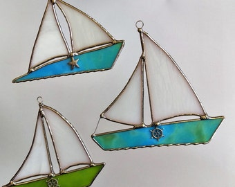 Stained Glass Sailboat Suncatcher Ornament